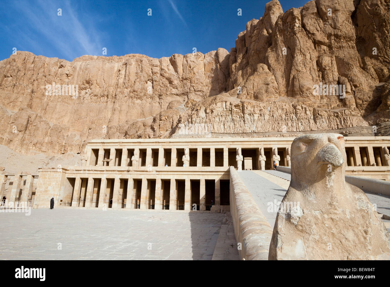 Horus Hawk at ascent of Mortuary Temple of Queen Hatshepsut, Luxor, Egypt - Stock Image