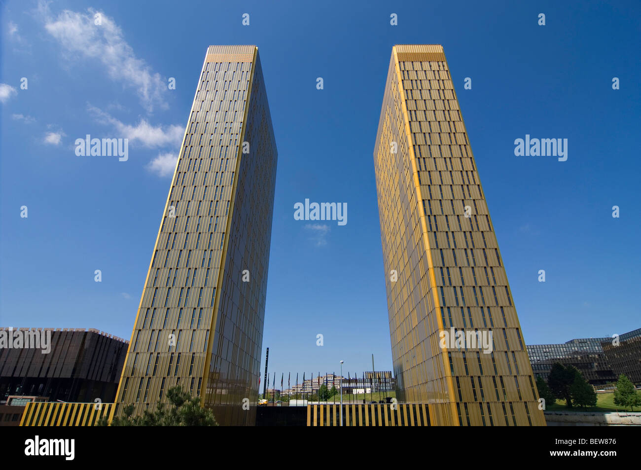 Twin towers, European Court of Justice, Kirchberg plateau, Luxembourg, wide-angle view - Stock Image