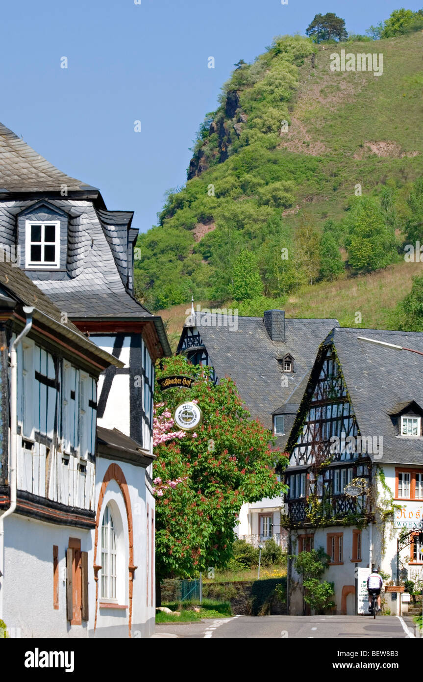 Half-timber houses in Rissbach, Traben-Trarbach, Rhineland-Palatinate, Germany - Stock Image