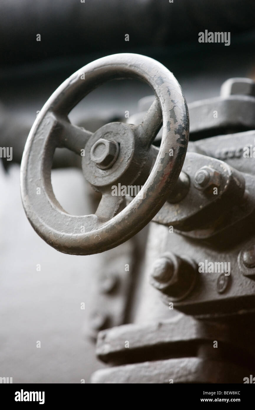 Close-up of valve of railway traction vehicle - Stock Image