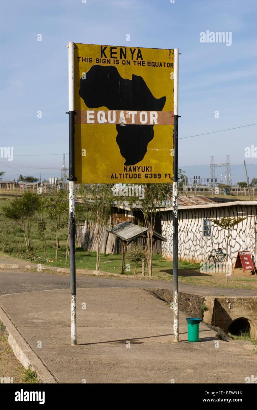 Sign on the equator, Nanyuki, Kenya - Stock Image