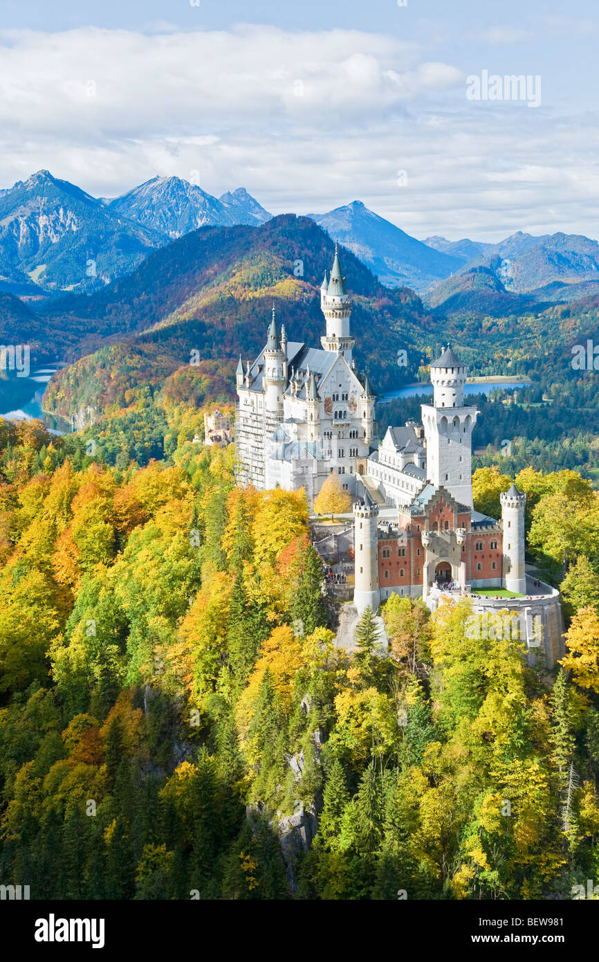 Neuschwanstein Castle, Schwangau, Bavaria, Germany, high angle view - Stock Image