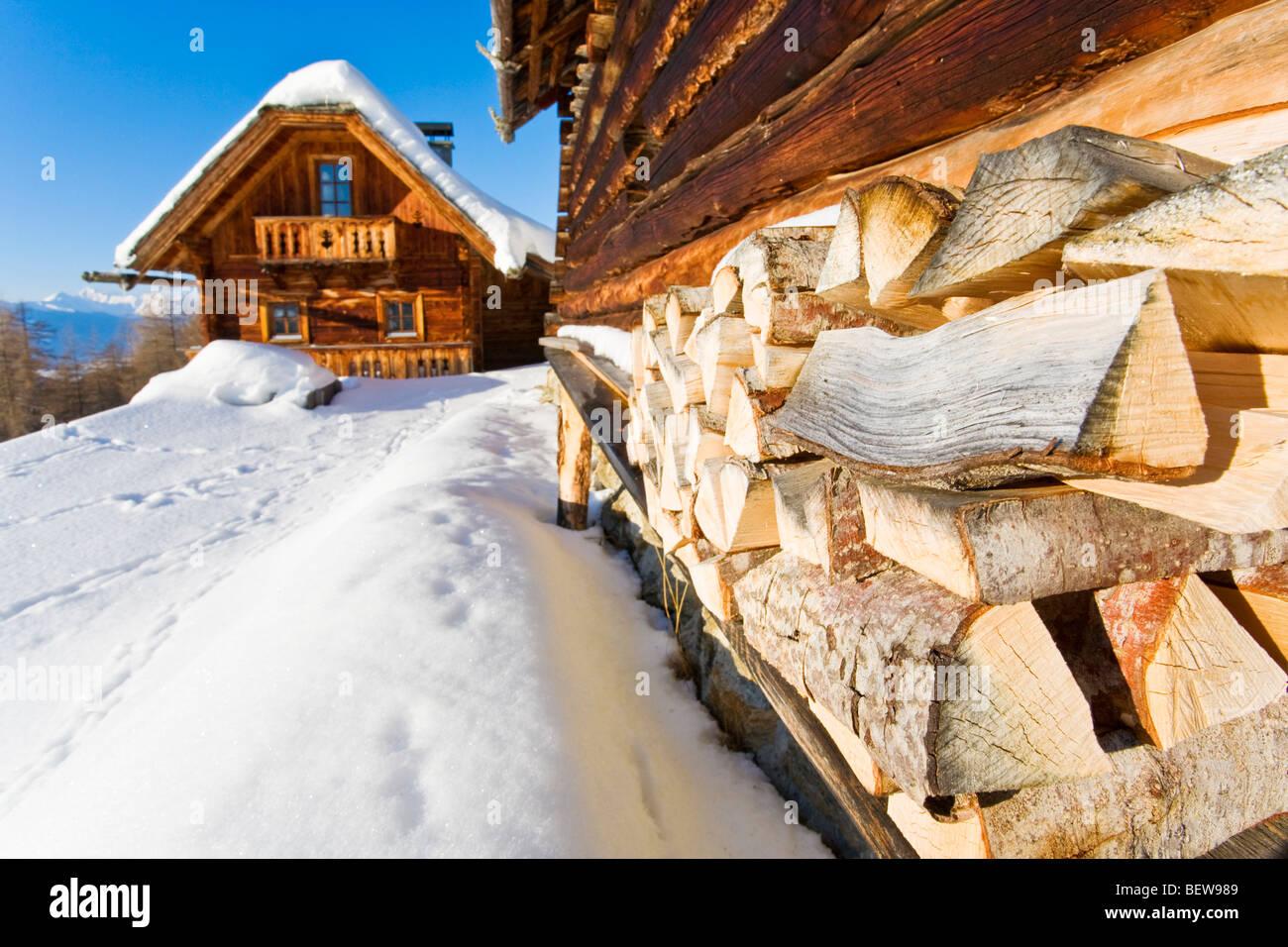 Snow-covered mountain refuge on an alp, Tamsweg, Salzburger Land, Austria - Stock Image