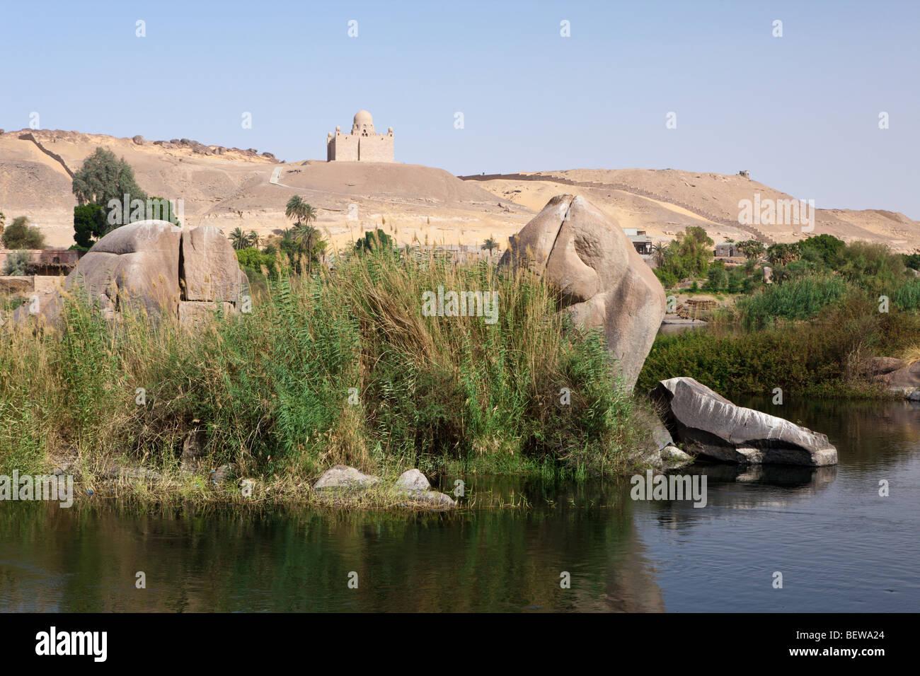 Nile River Cataract And Mausoleum Of Aga Khan Aswan Egypt Stock