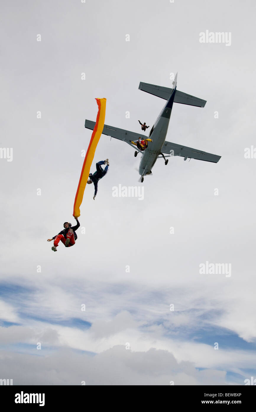 parachute jumping, view from below - Stock Image