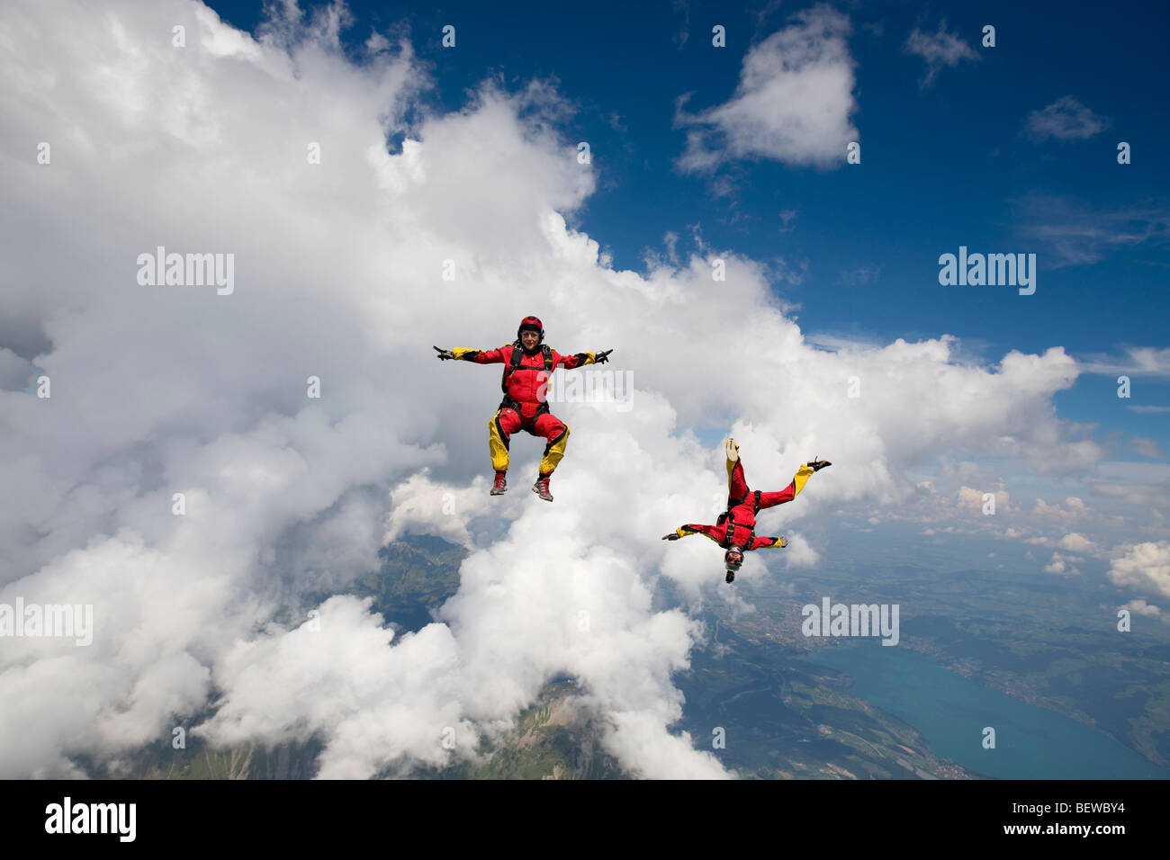 two people doing parachute jumping, full shot Stock Photo