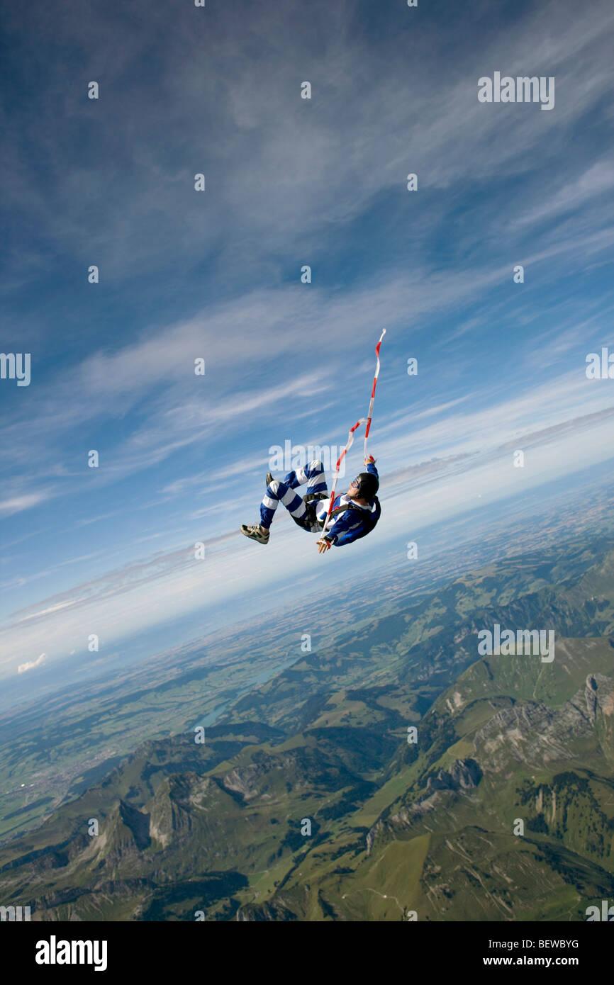 parachute jumper, full shot - Stock Image