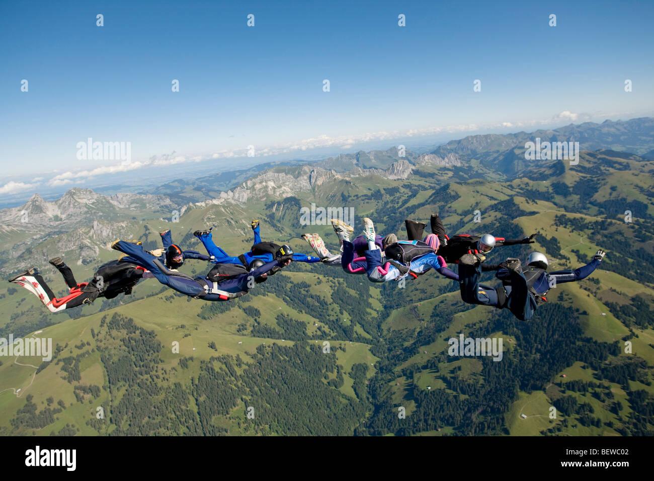parachute jumping, full shot - Stock Image