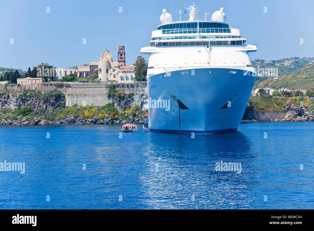Cruise liner Cost Romantica before Lipari, Italy - Stock Image