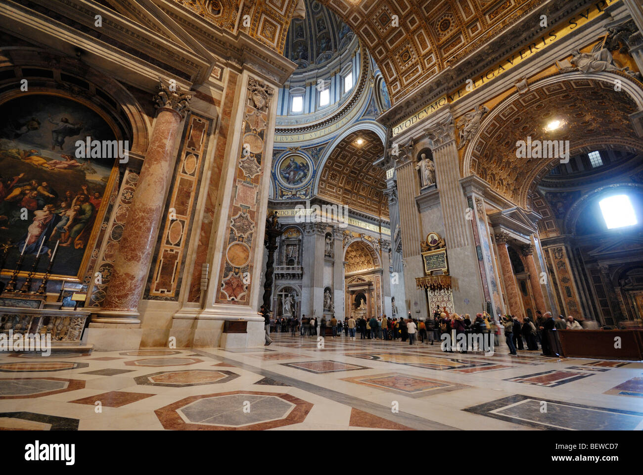 Interior of St. Peters Basilica, Rome, Vatican City, wide-angle view Stock Photo