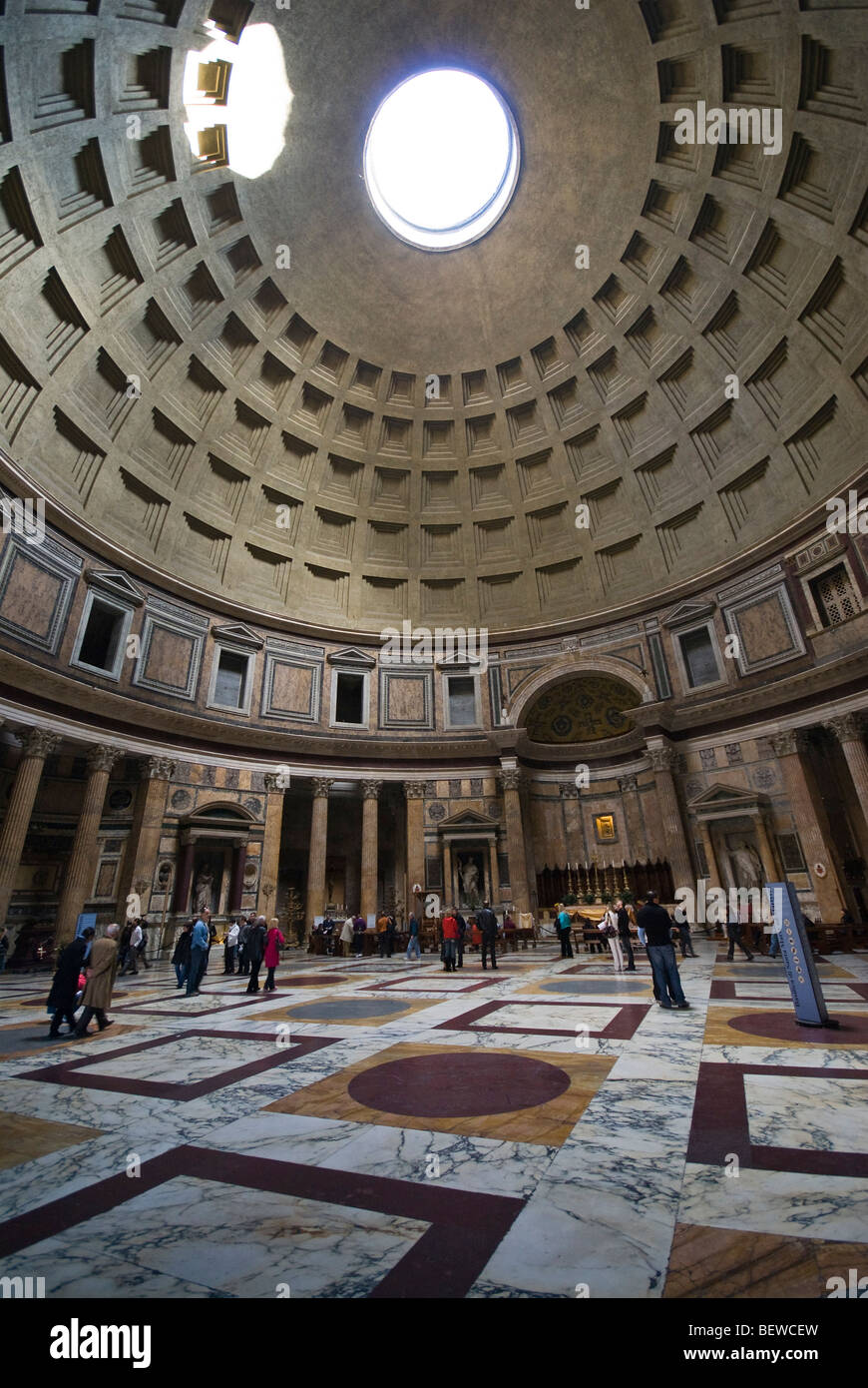 Pantheon Floor Pattern : Interior of the pantheon dome wide angle shot stock photo