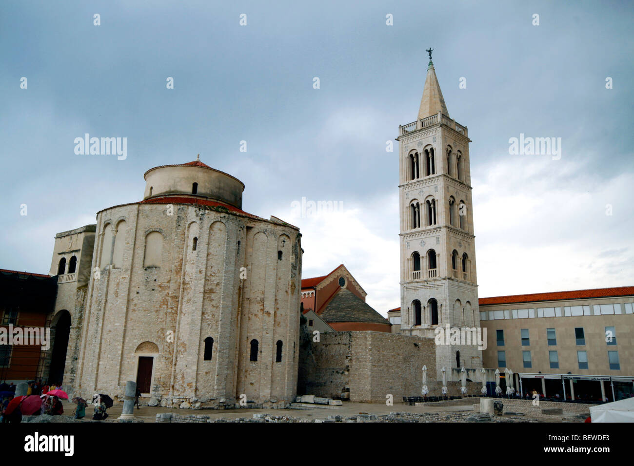 Roman stonewalls in front of Sveti Donat Church, Zadar, Croatia, wide-angle view - Stock Image