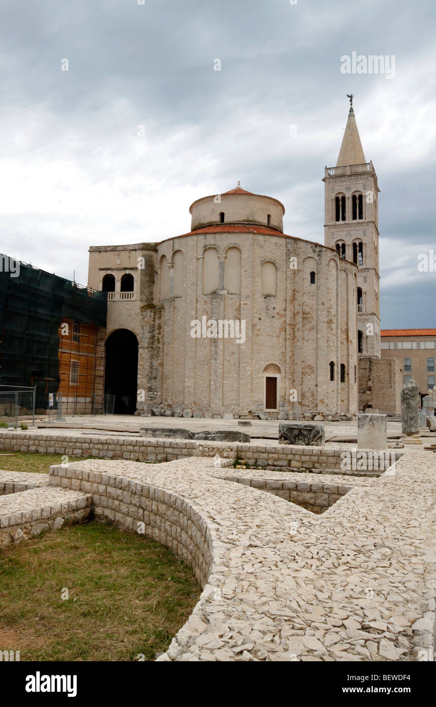 Roman stonewalls in front of Sveti Donat Church, Zadar, Croatia - Stock Image