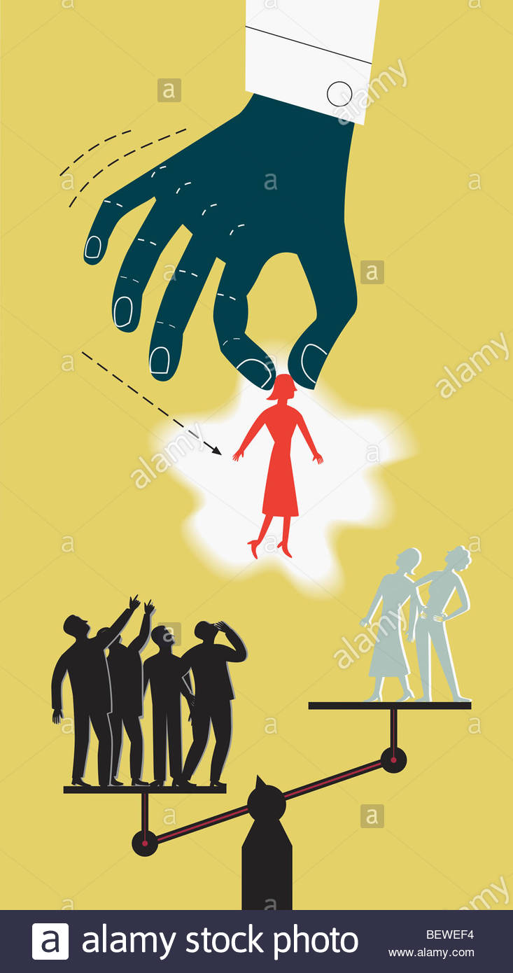 Large hand moving woman from overloaded scale to lighter side - Stock Image