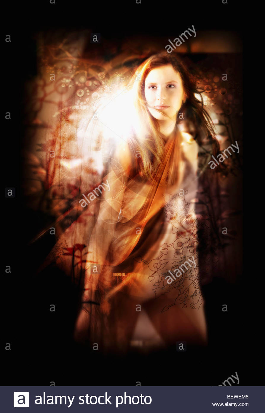 Woman standing with abstract pattern in foreground Stock Photo