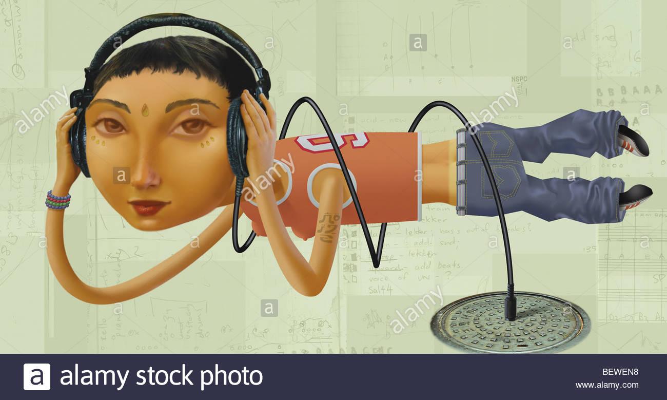 Teenage girl listening to underground music - Stock Image