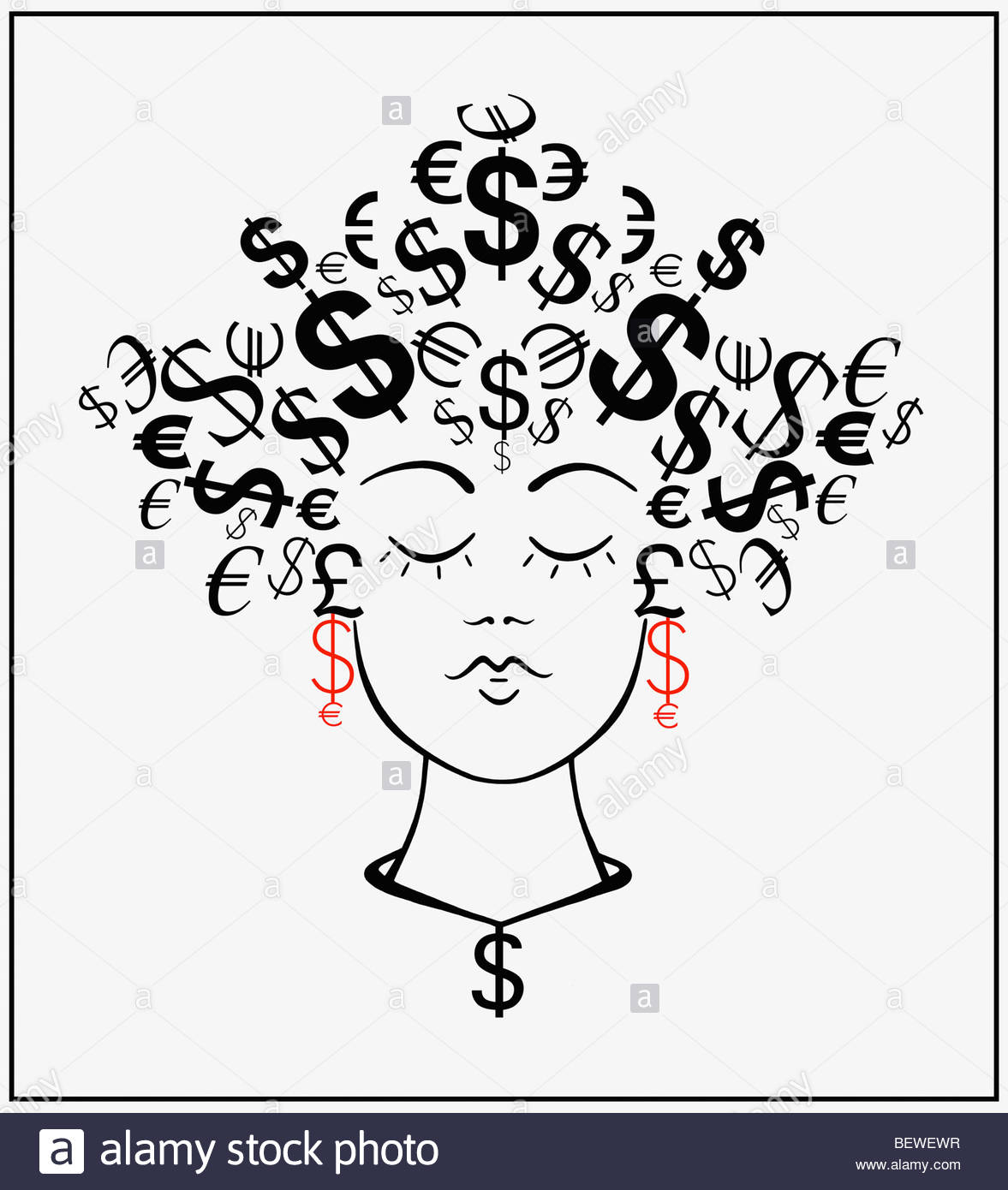 Woman with currency symbols for hair - Stock Image