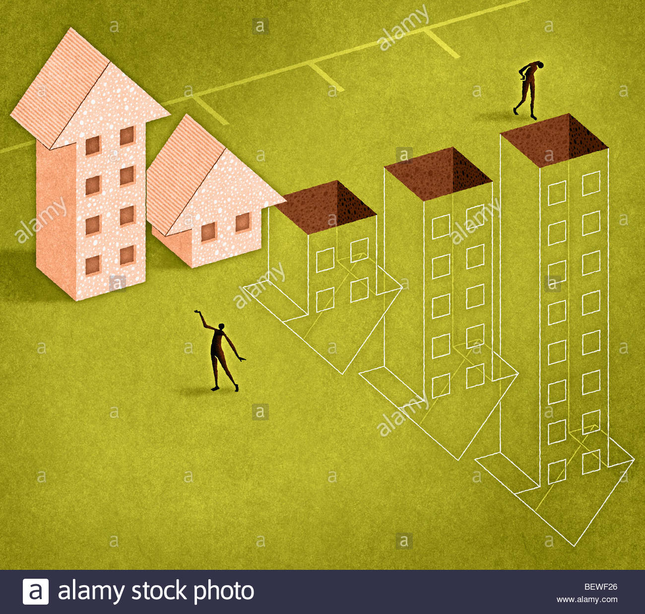 Graph of arrow houses ascending and descending - Stock Image