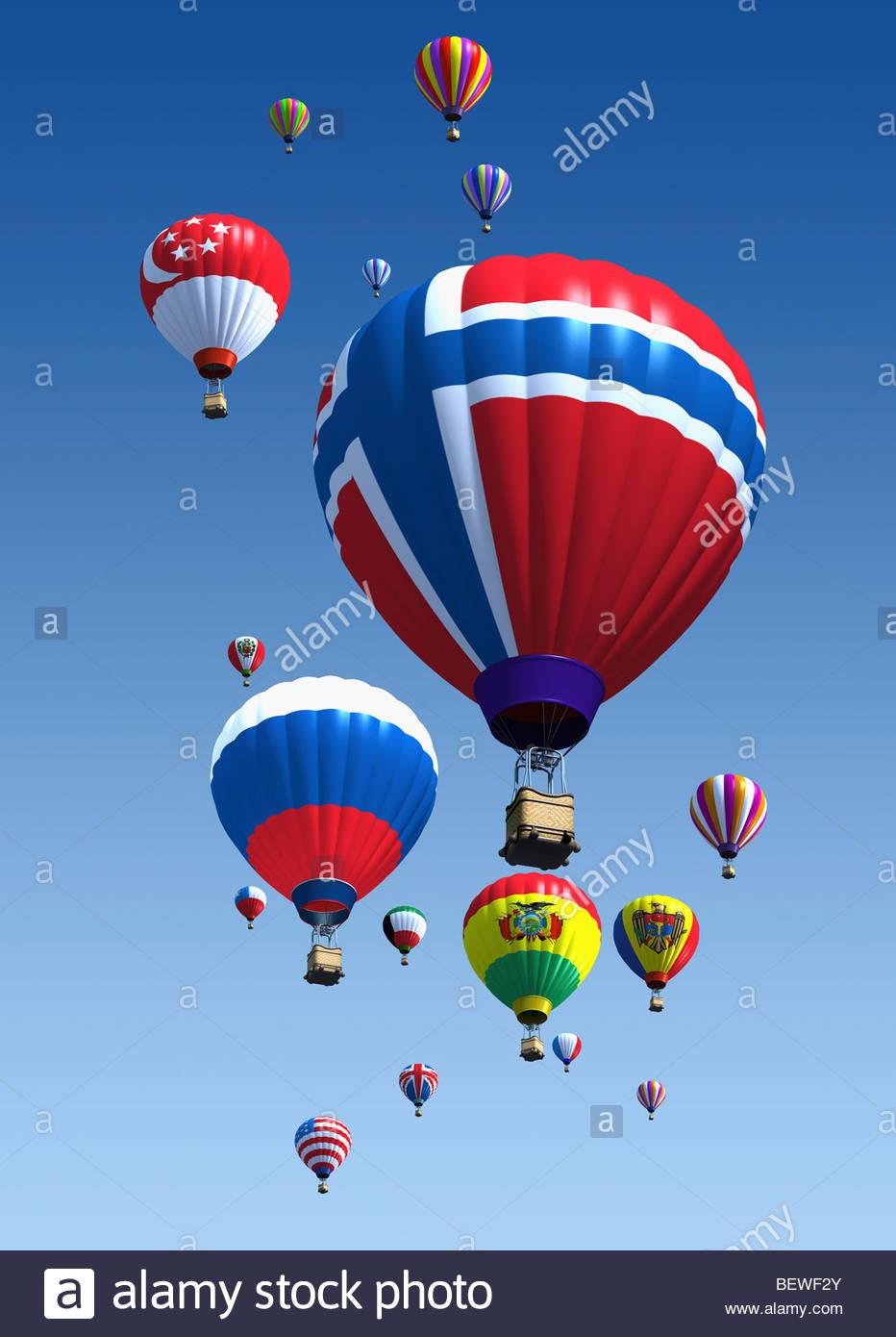International flag hot air balloons - Stock Image