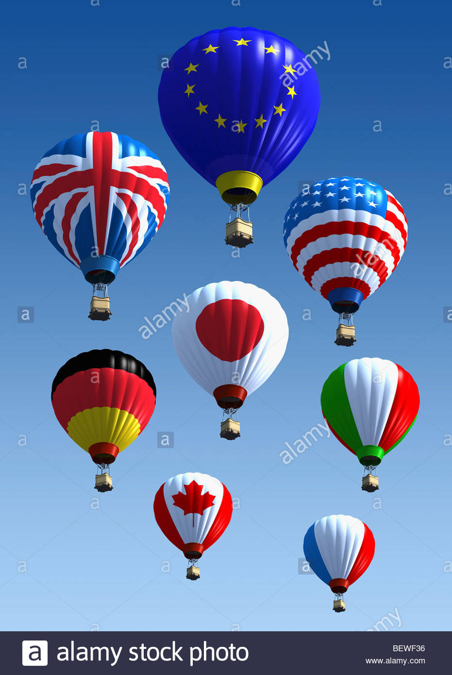 International flag hot air balloons - Stock Image