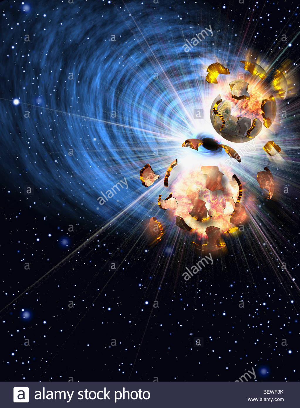 Asteroids Colliding With Planet Stock Photos Asteroids