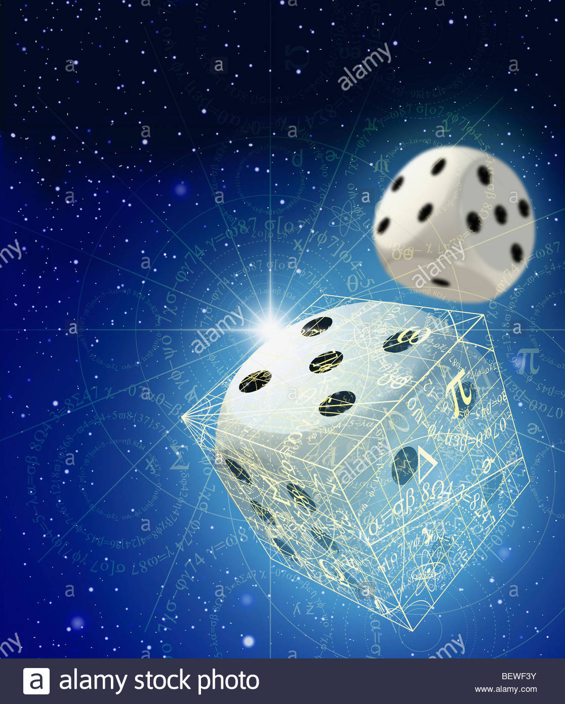 Dice and mathematical equations in space - Stock Image
