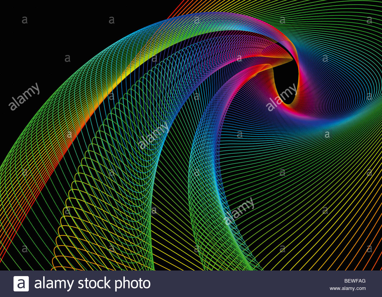 Swirling rainbow colored lines - Stock Image