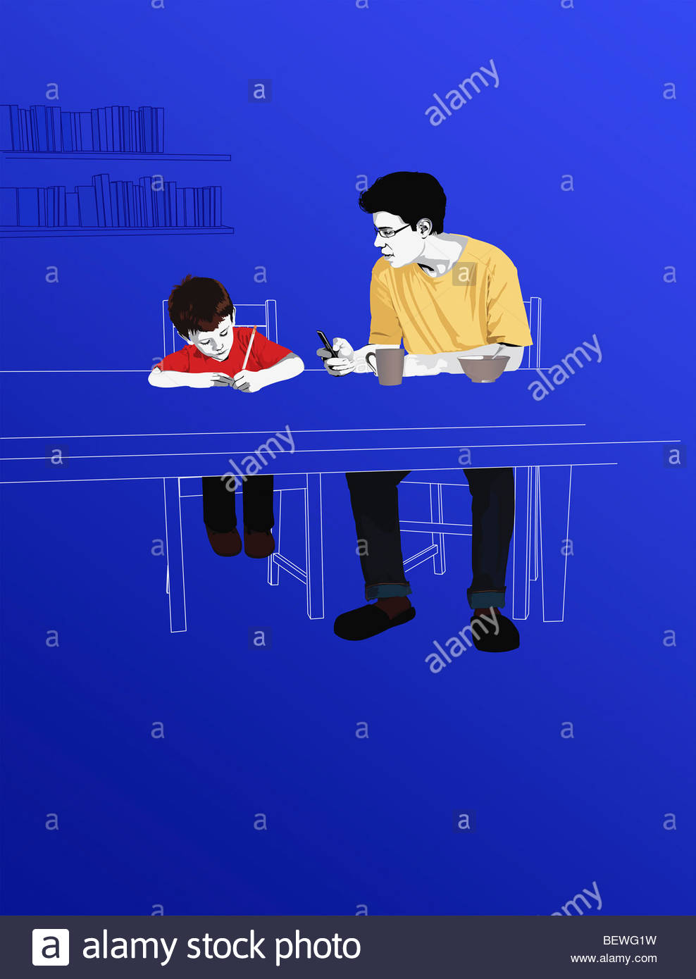 Mentor helping boy with homework - Stock Image
