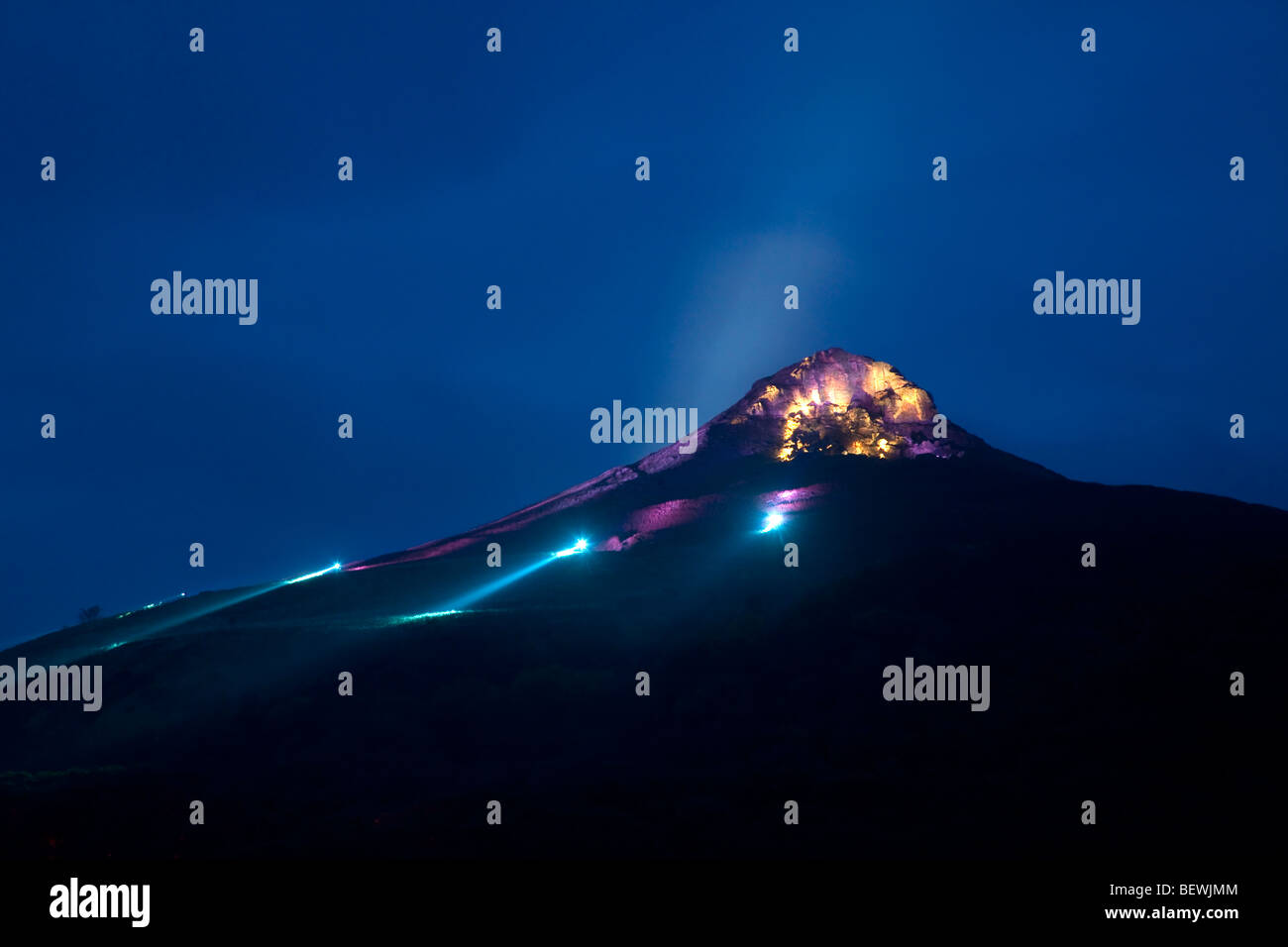 Odins Glow. The illumination of Roseberry Topping October 2009 - Stock Image