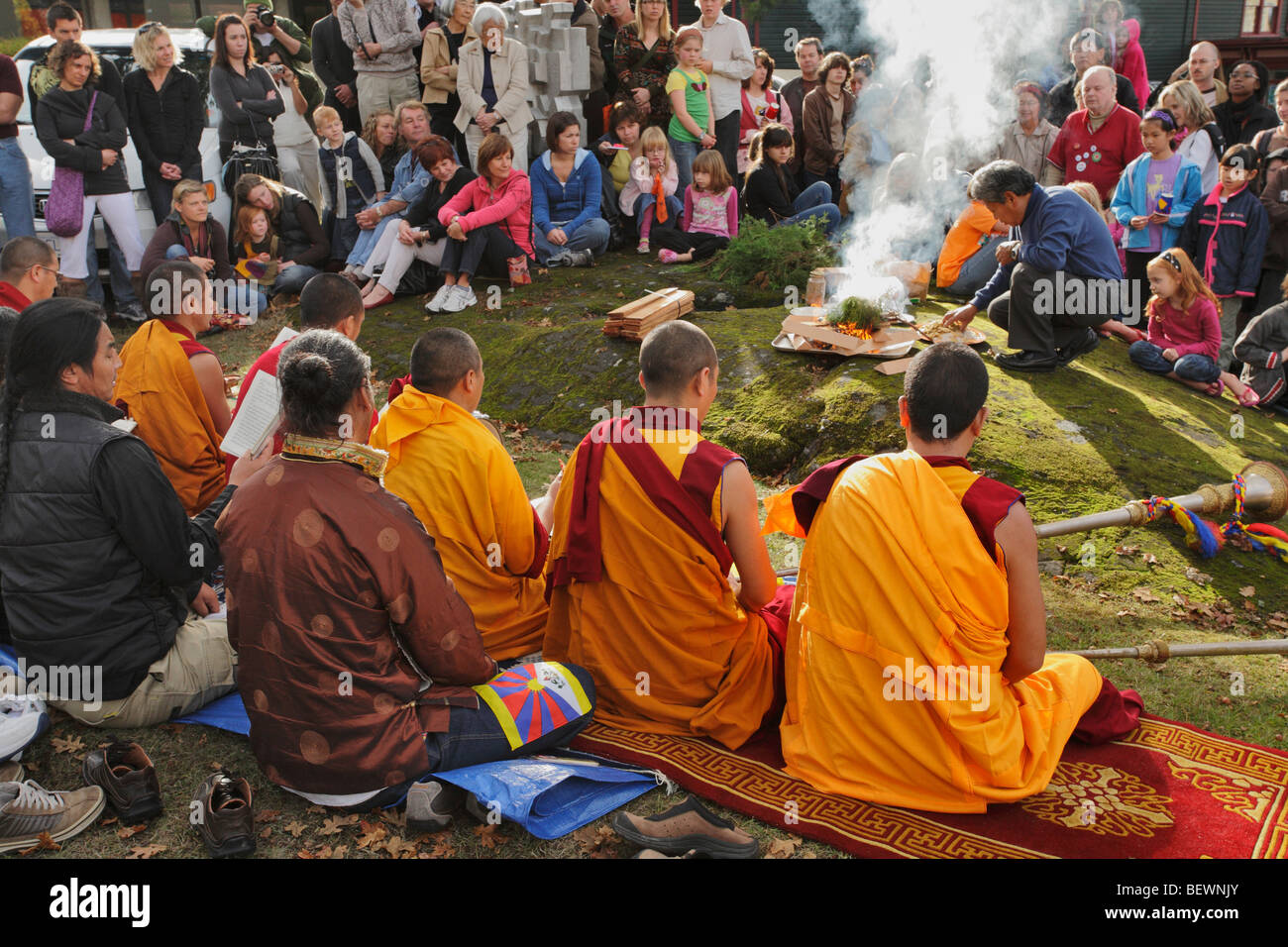 Tibetan Monks performing purification ceremony-Victoria, British Columbia, Canada. - Stock Image