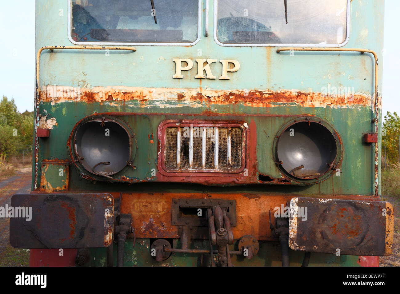 Abandoned old locomotive left alone deserted - Stock Image