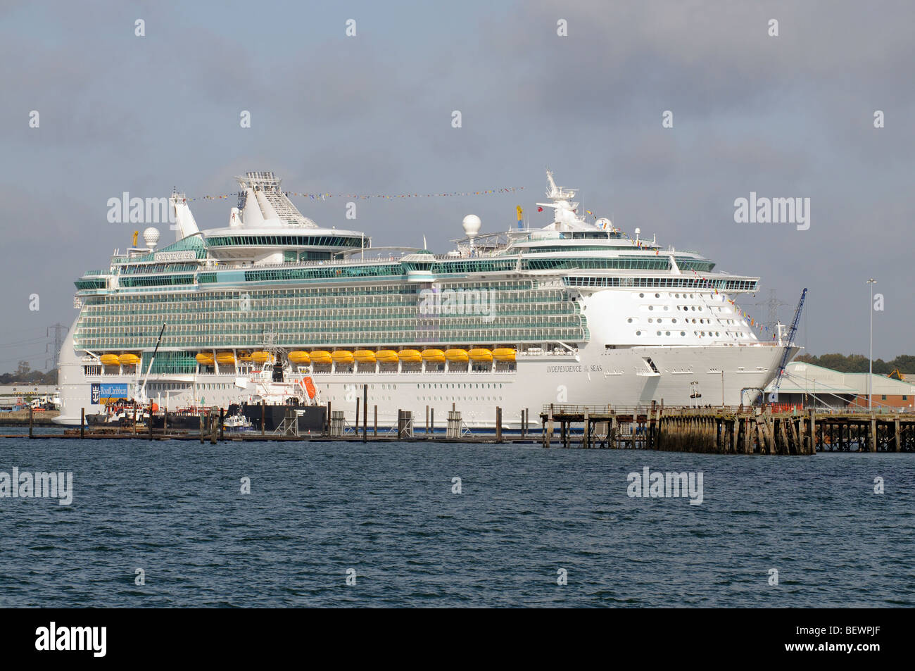 Royal Caribbean International cruise ship Independence of the Seas alongside in the Port of Southampton southern - Stock Image