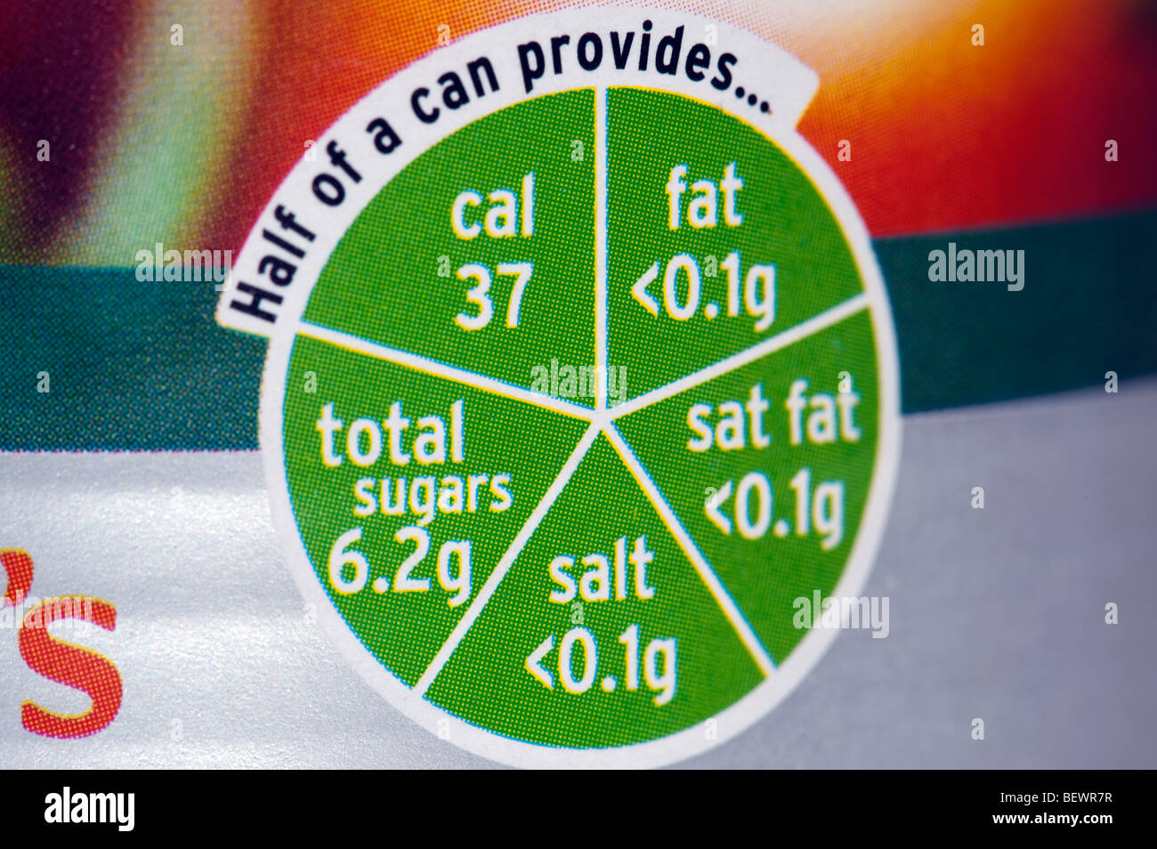 Nutritional information on a can of tomatoes - Stock Image