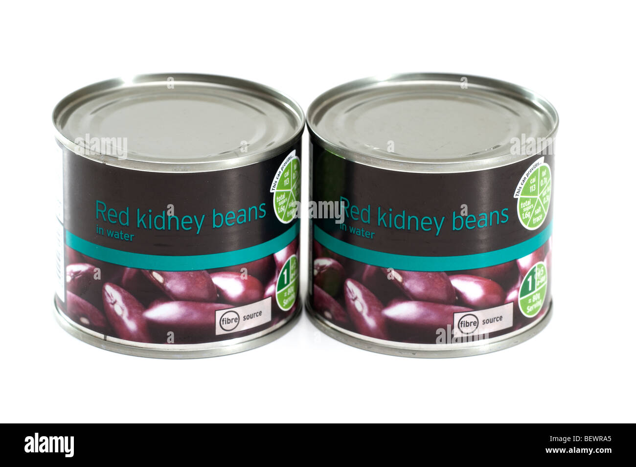 Two cans of red kidney beans - Stock Image