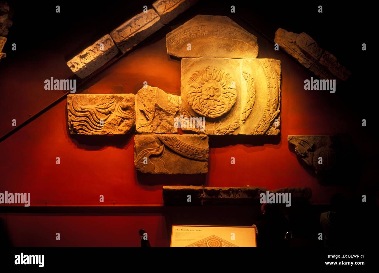 The Temple Pediment Roman Baths Museum Bath Somerset UK - Stock Image