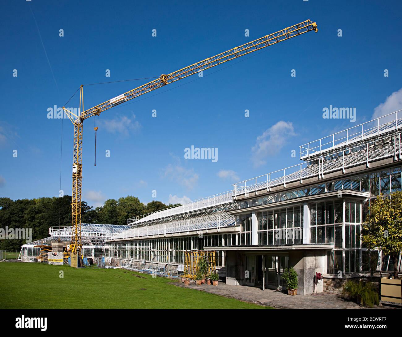 Rebuilding greenhouses National Botanic Gardens Nationale Plantentuin Meise Brussels Belgium - Stock Image