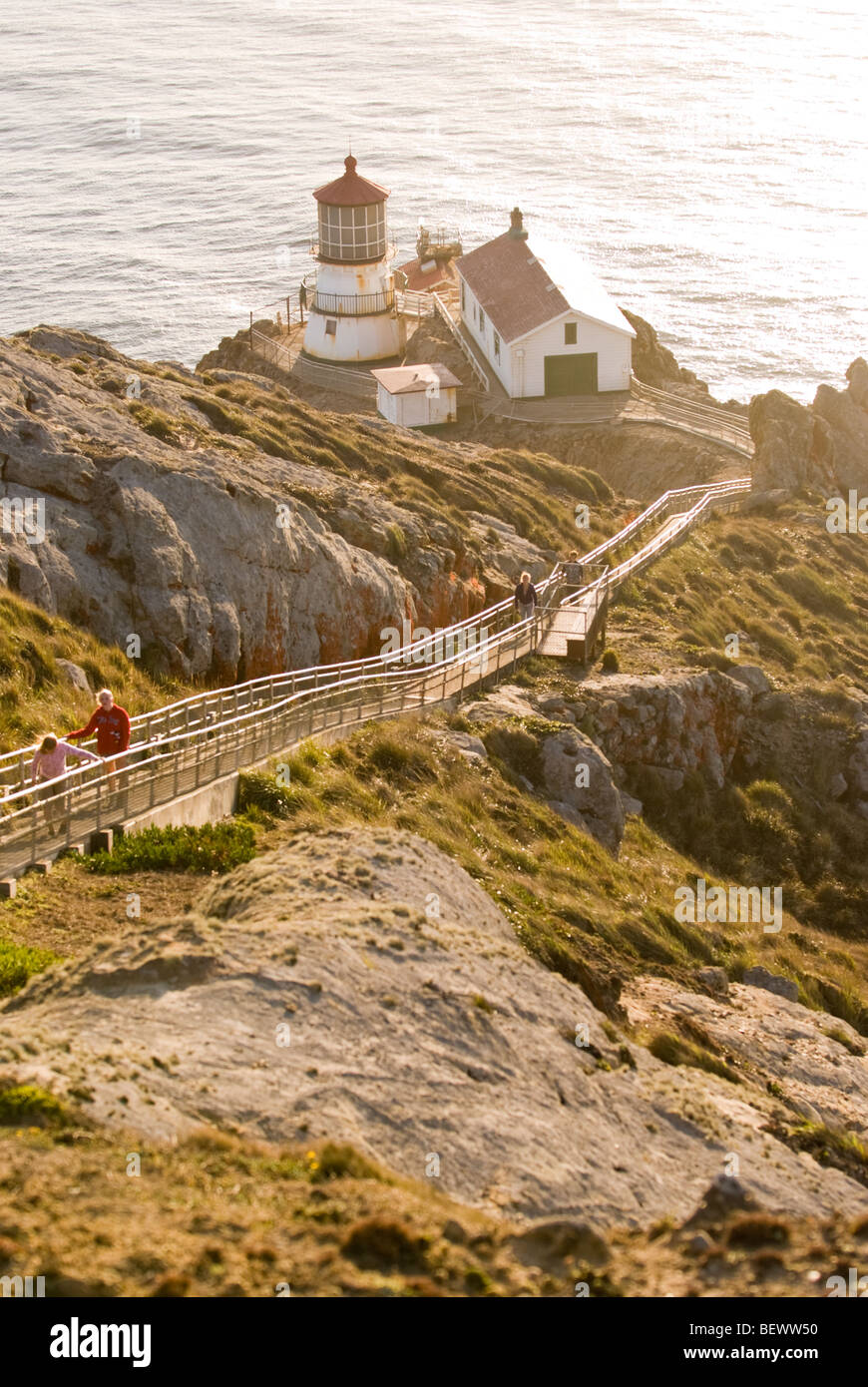 The Point Reyes Lighthouse at the Point Reyes National Seashore near San Francisco, California. - Stock Image