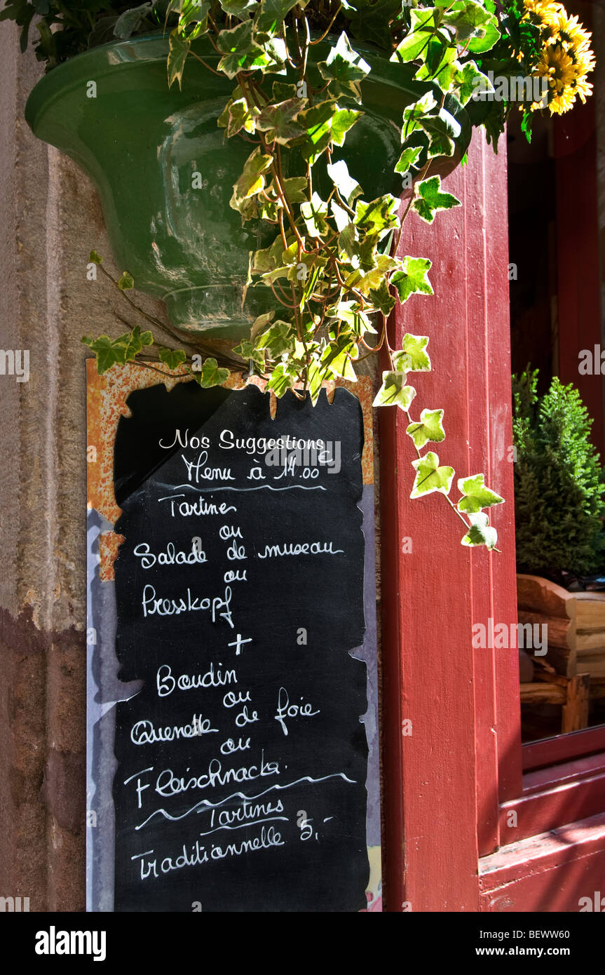 ALSACE FRENCH BLACKBOARD MENU BOARD Typical rustic inexpensive fixed price 'menu of the day' on blackboard outside Stock Photo