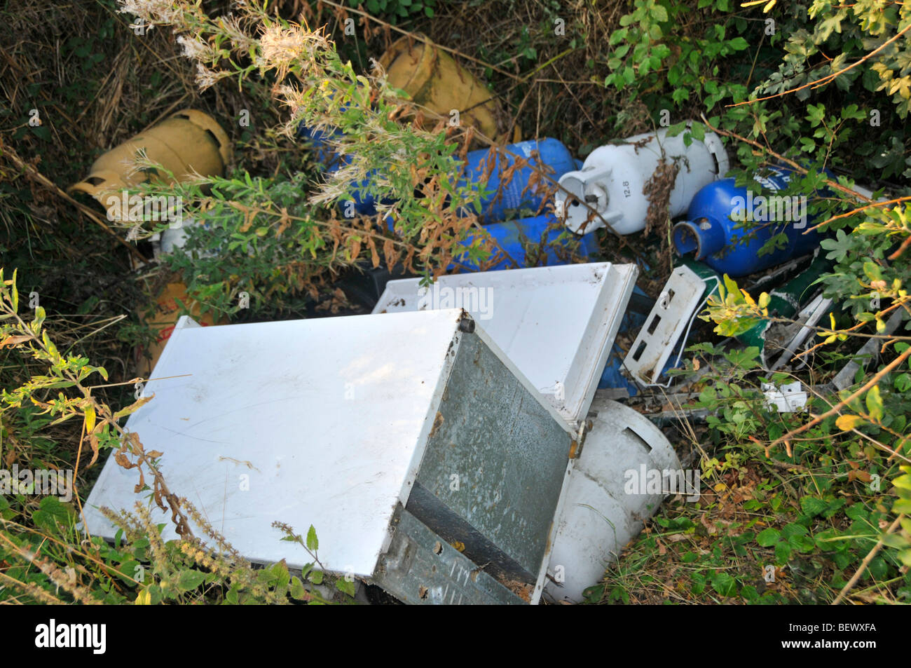 Fly tipping of butane propane gas bottles and old fridge in roadside drainage ditch - Stock Image