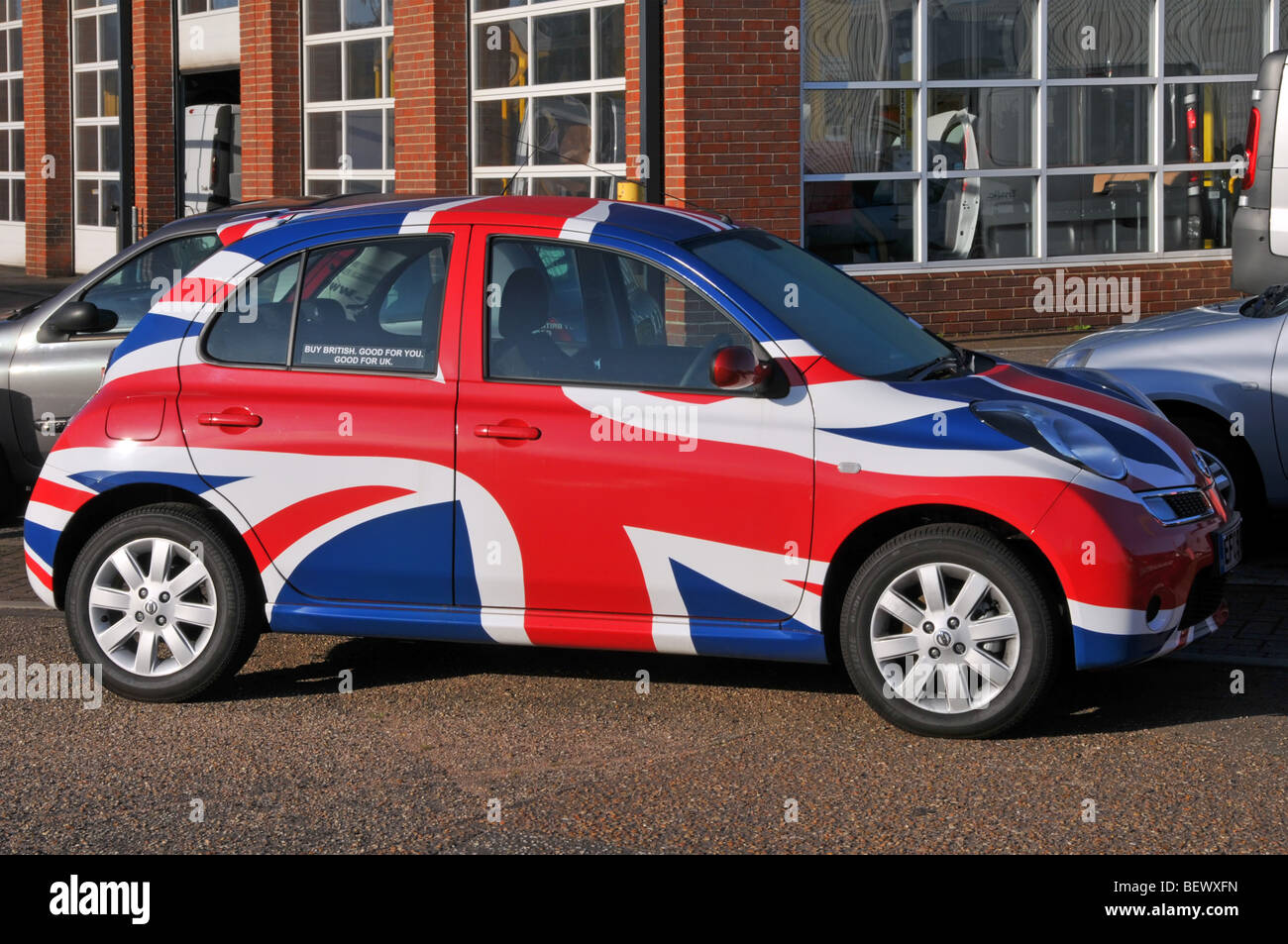 Nissan micra car with union flag graphics as part of a Buy British marketing campaign for the Sunderland factory - Stock Image