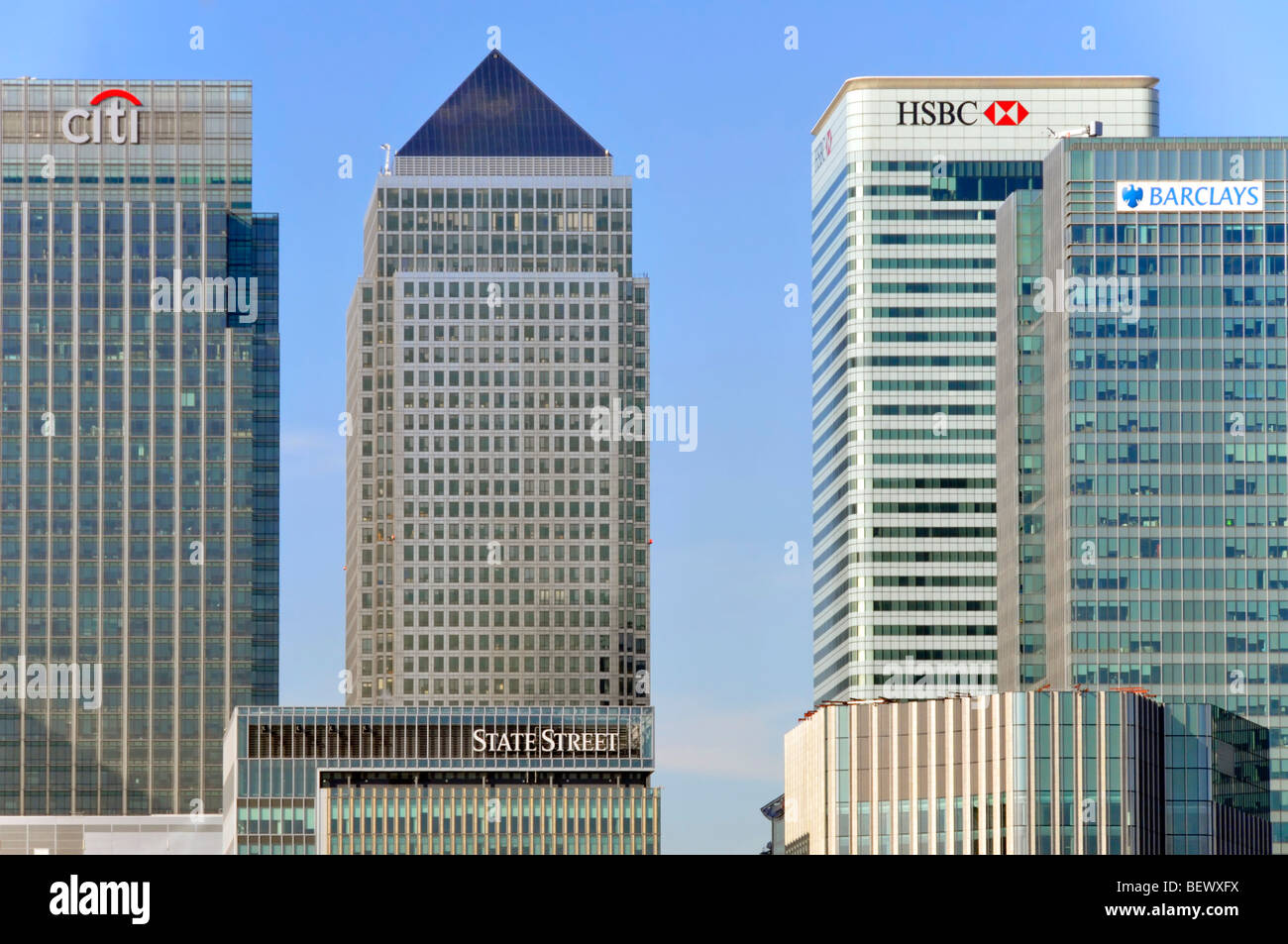Bank offices based at Canary Wharf in London Docklands - Stock Image