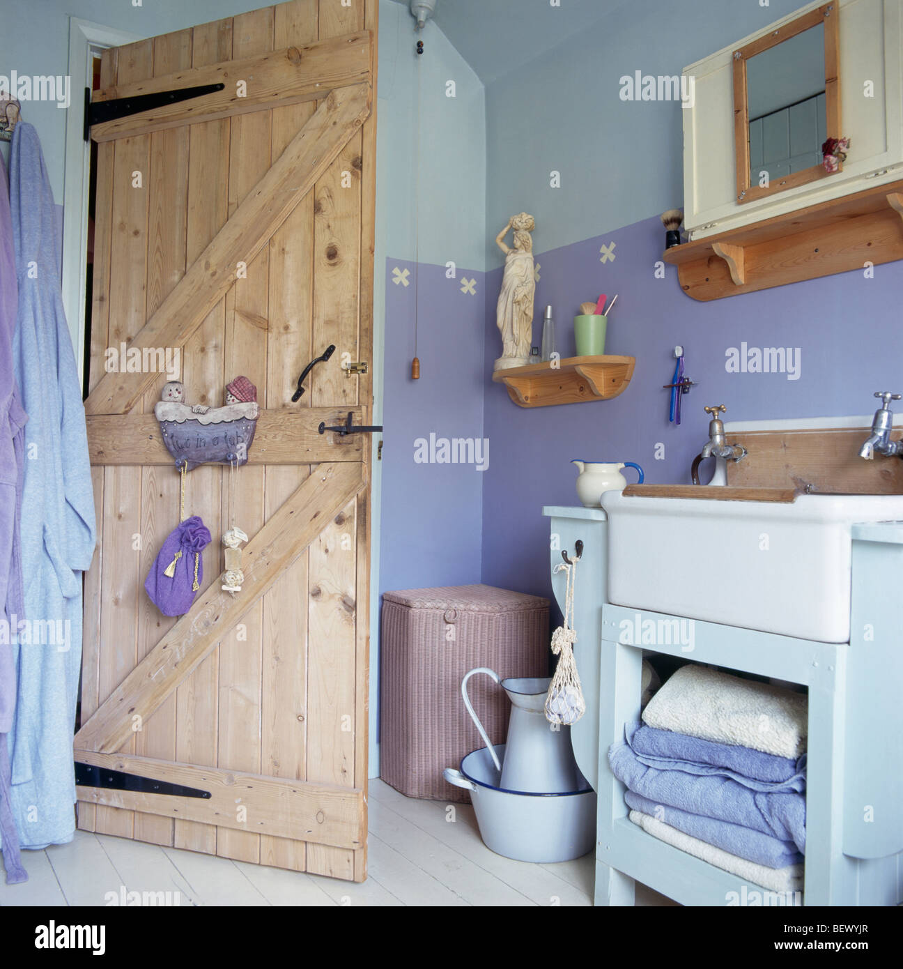 Stripped Pine Door In Cottage Bathroom With Twotone Painted Blue - Two tone bathroom walls