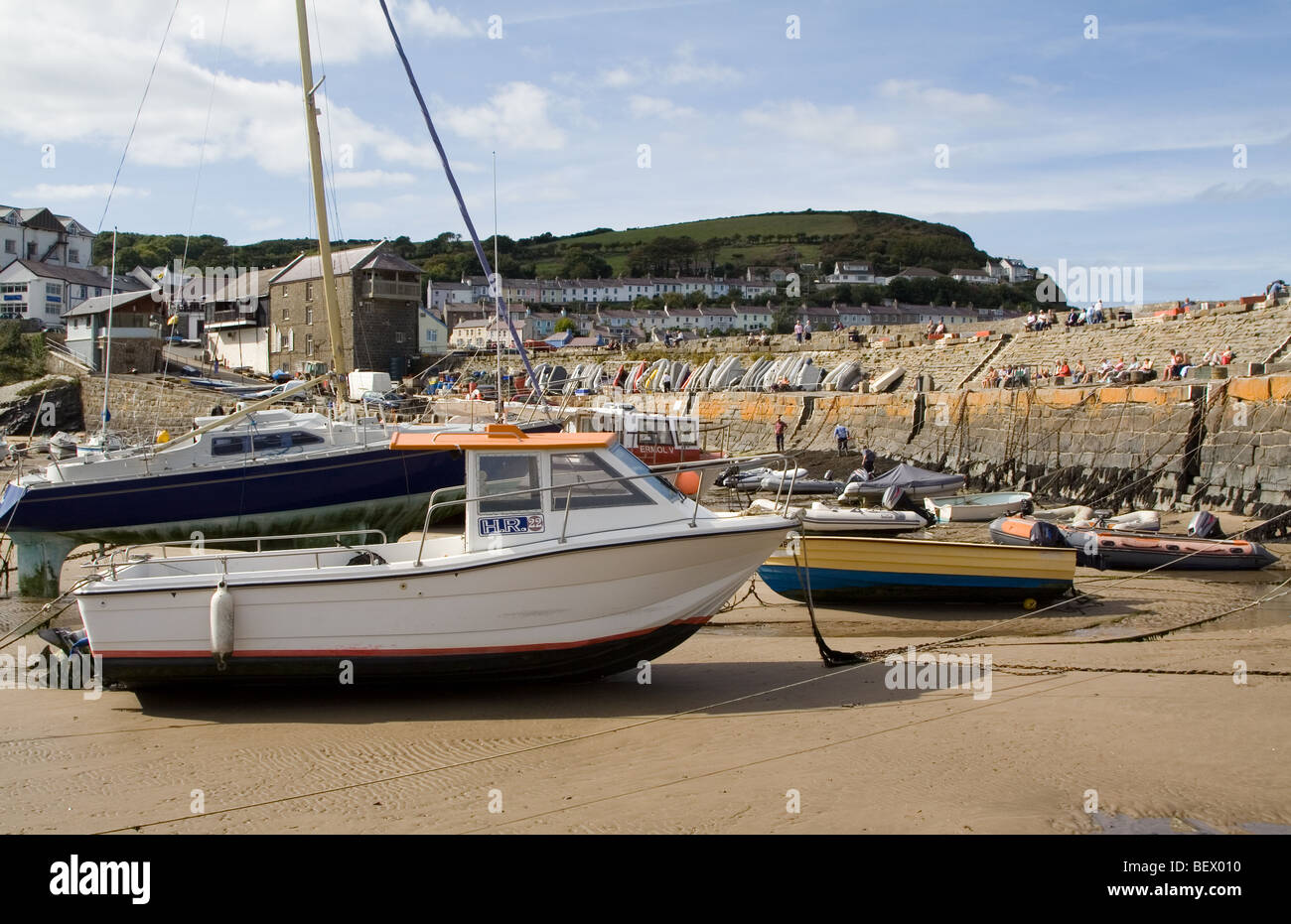 New Quay Harbor in West Wales - Stock Image