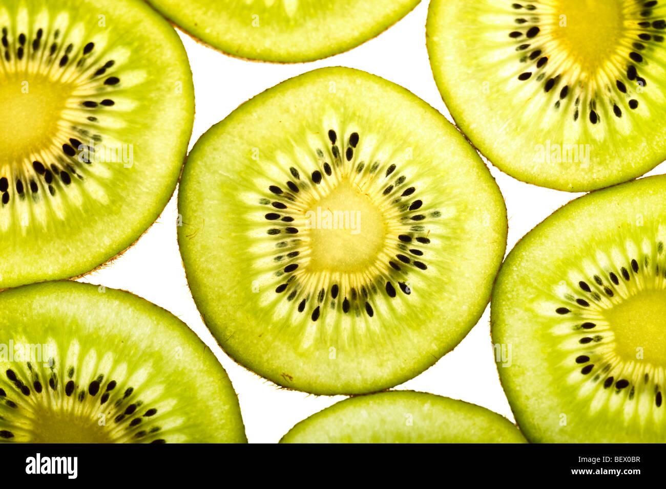 Freshly cut kiwi - Stock Image