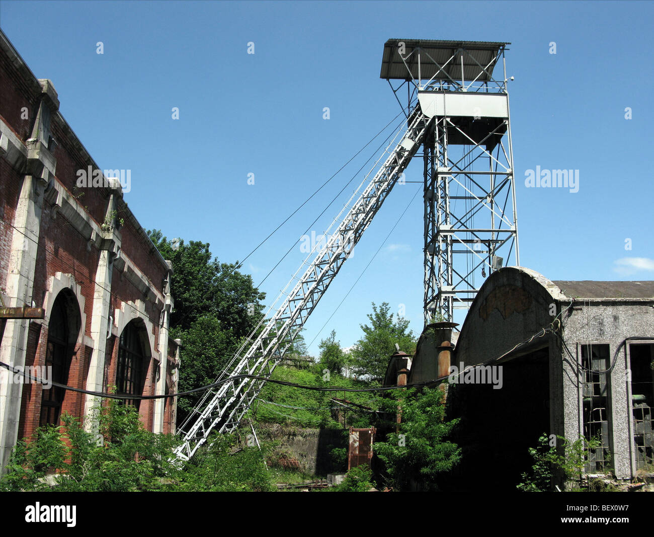 Former 'Pozo Fondón' coal mine and Mining Museum - Stock Image