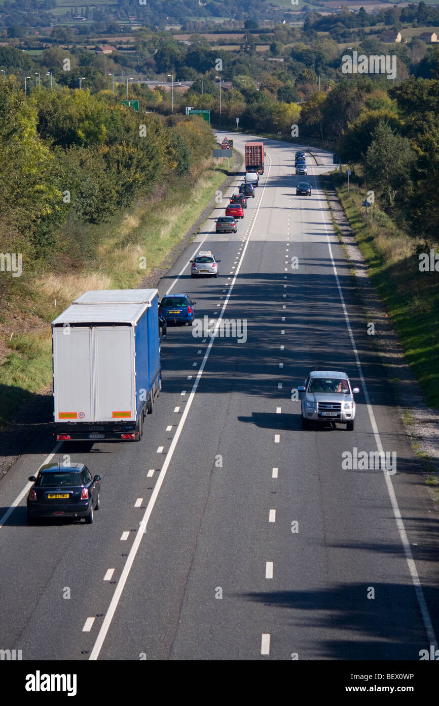 Traffic on the A303 trunk road in Somerset - Stock Image
