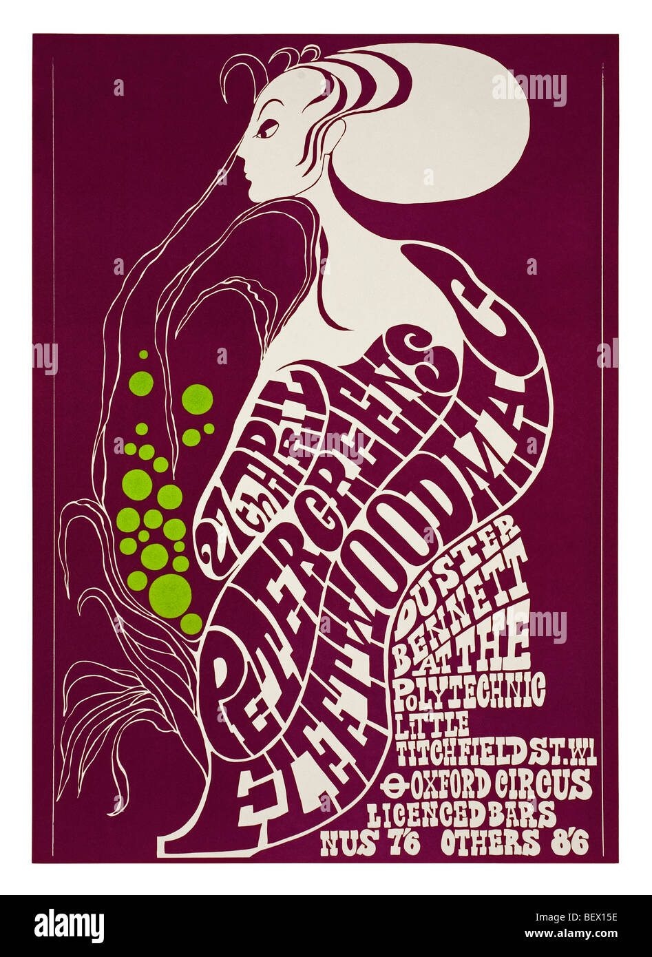 Poster for Peter Green's Fleetwood Mac at the London Polytechnic in 1967 - Stock Image