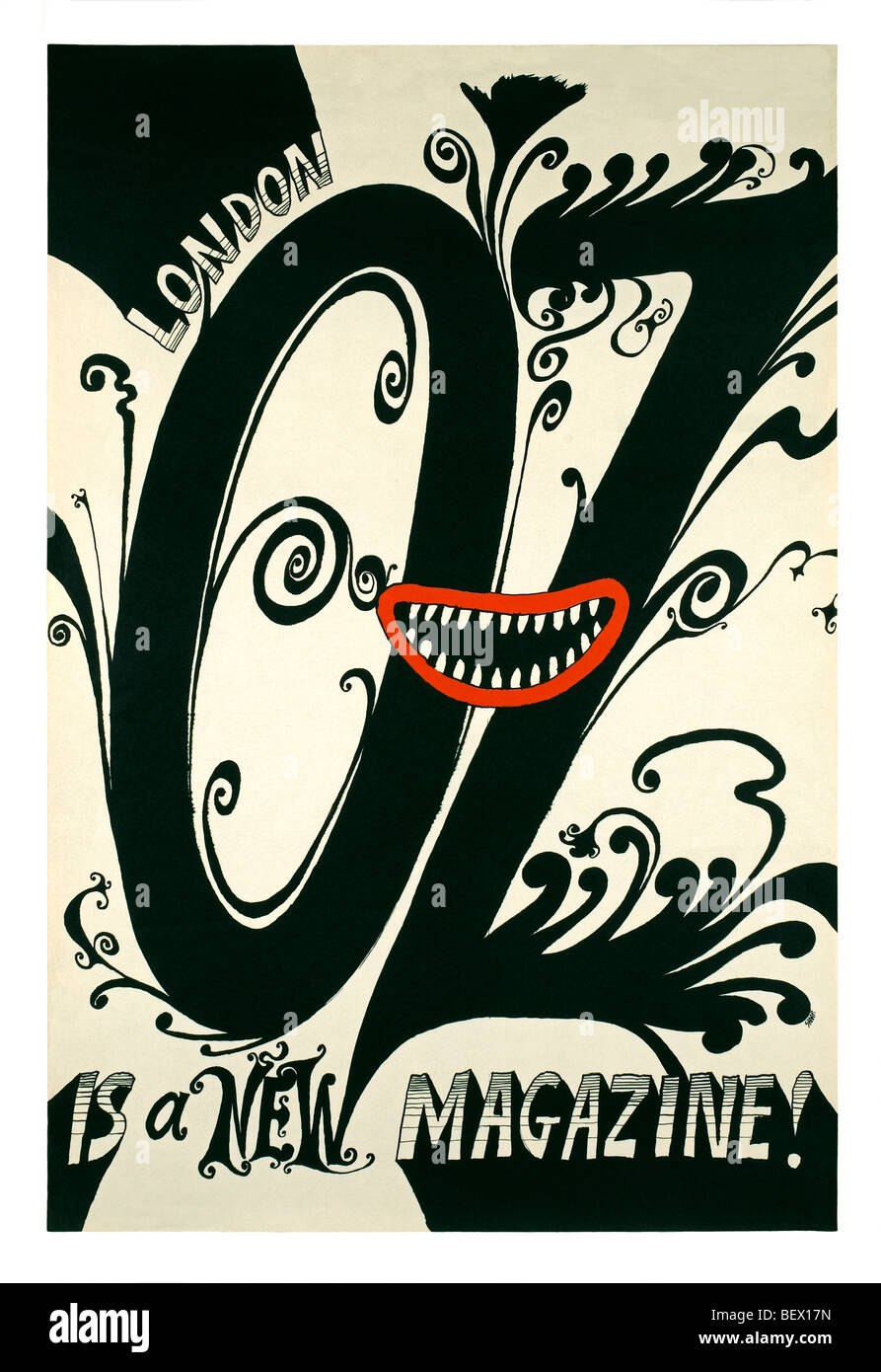 Street poster for Oz magazine's first issue in 1967 - Stock Image