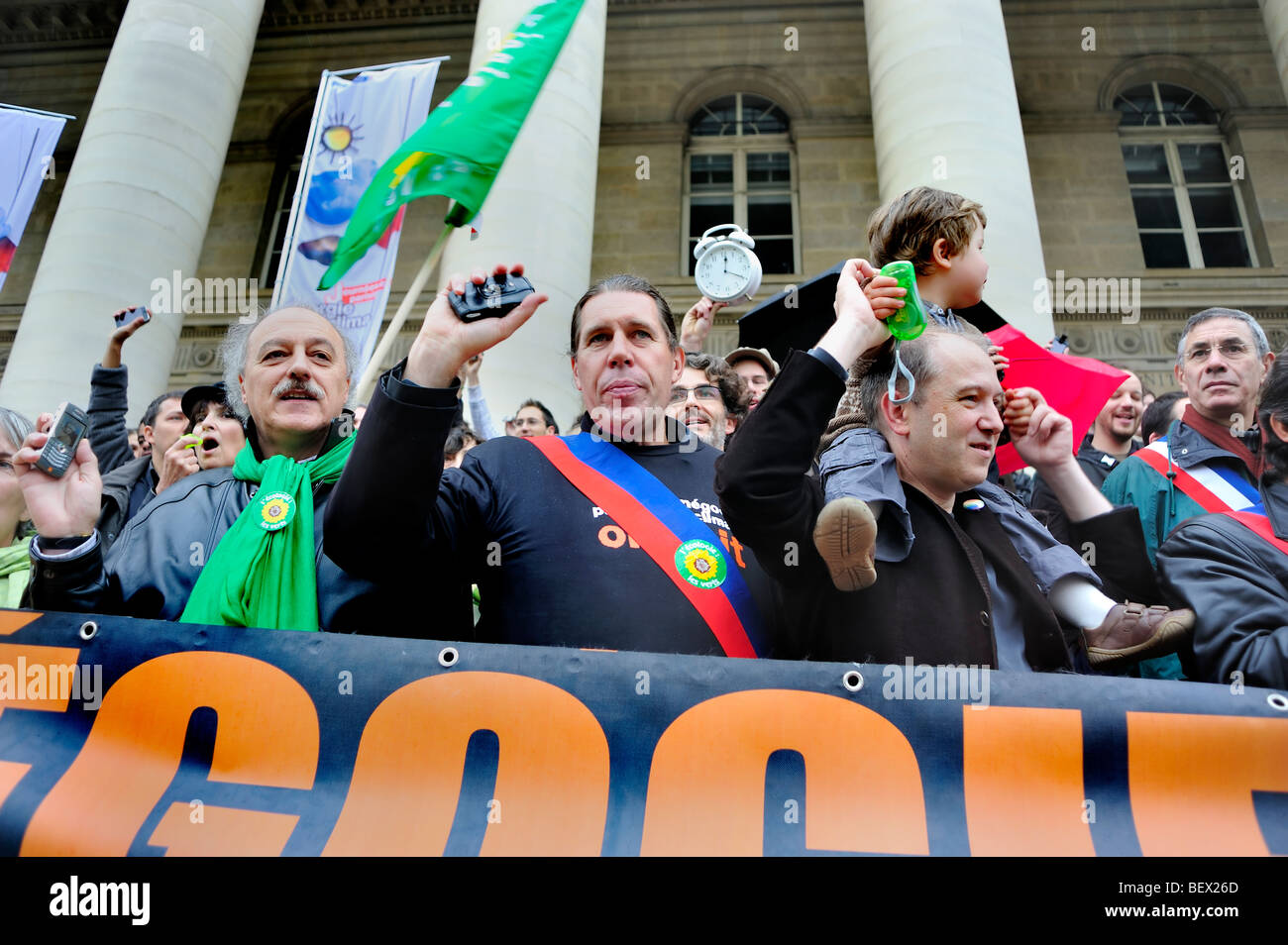 Paris, France, Group at Demonstration 'Flash Mob' of French Environmentalists to 'Wake up' French - Stock Image