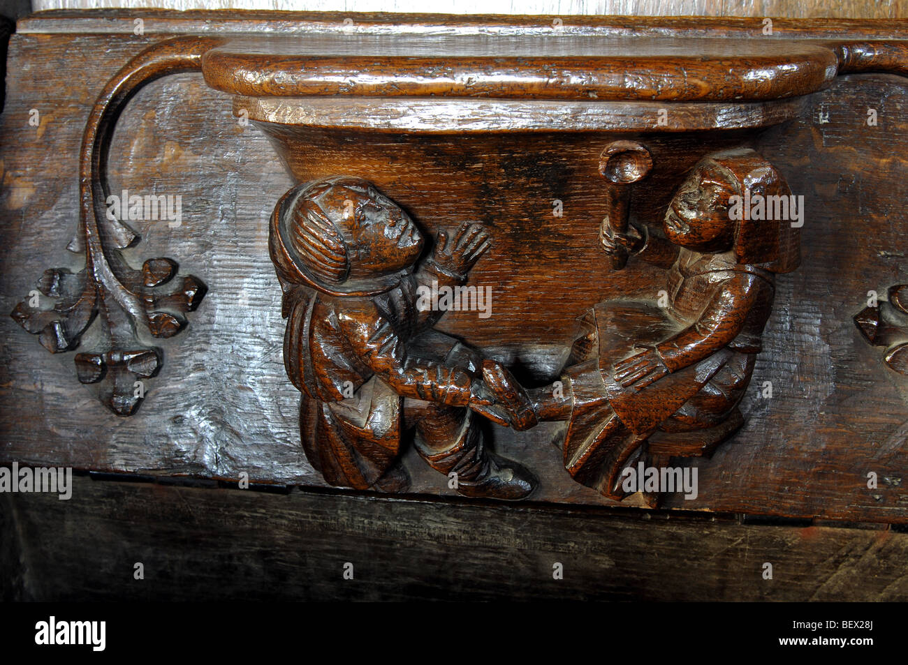 Misericord in St. Mary the Virgin Church, Fairford, Gloucestershire, England, UK - Stock Image